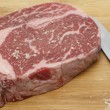 Seasoning wagyu beef with salt — Foto Stock