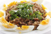 Egyptian foul with boiled eggs — Stock Photo