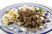 Plate of Moroccan style mince and couscous — Stock Photo
