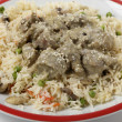 Stock Photo: Creamy lamb kormand rice closeup