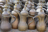 Old coffee pots in Doha souq — Stock Photo