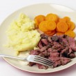 London broil meal with fork — Stock Photo
