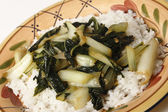 Sauteed bok choi on a bed of jasmine rice — Stock Photo