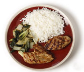 Soy marinaded chicken breast meal — Stock Photo