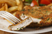Chicken schnitzel sliced closeup — Stock Photo