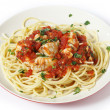 Spaghetti with fish in arrabbiata sauce — Stock Photo #40089539