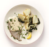 Veal with potatoes and chard from above — Stock Photo