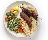 Kebab tabouleh bbq from above — Stock Photo