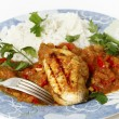 Grilled chicken in tomato sauce — Stock Photo