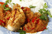 Chicken in salsa closeup — Stock Photo
