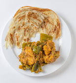 Aloo capsicum curry and paratha high angle — Stock Photo