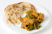 Aloo capsicum curry and paratha — Stock Photo