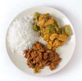 Beef curry with rice and potato — Stock Photo