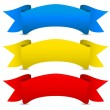Stock Vector: Blue yellow red Vector ribbons - Scroll banners