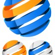 3d Spheres, globes with lines - Abstract 3d design element, emblem, icon — Stock Vector