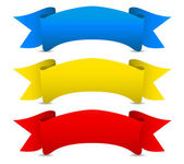 Blue yellow red Vector ribbons - Scroll banners — Stock Vector