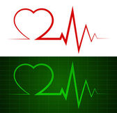 Heartbeat symbol and monitor two in one — Stock Vector