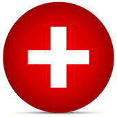 Red Cross in Circle — Stock Vector