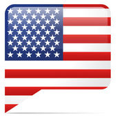 United States Flag in Speech Bubble — Stock Vector