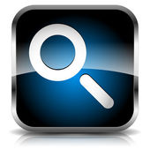 Seach icon with magnifying glass. Revision, Research, Search, SEO, Examination, Analytics, Inspection, Review concept. — Vettoriale Stock