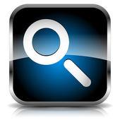 Seach icona con lente di ingrandimento. revisione, ricerca, ricerca, seo, esame, analitica, ispezione, concetto di recensione. — Vettoriale Stock