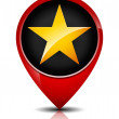 Glossy, Golden Star in red map marker. — Stock Vector