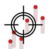 Cross Hair with bleeding gun shot holes. — Stock Vector