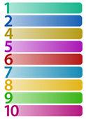 En fazla 10 numaraları ile yatay dikdörtgenler — Stok Vektör