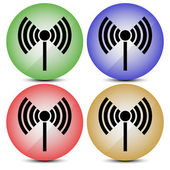 Radio tower, radio transmission, wireless connection, antenna, transmitter icons vector elements. — Stock Vector