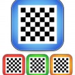 Chess board vector icon for chess, game, playing concepts - checkered chess board symbol on rectangular blue, red, orange square icon — Stockvector