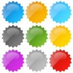 Glossy, shiny empty, blank badge set — Stock Vector #47978153