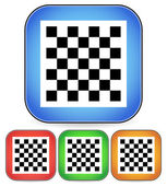 Chess board vector icon for chess, game, playing concepts - checkered chess board symbol on rectangular blue, red, orange square icon — Stock Vector