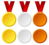 Gold, silver, bronze medals, badges vector graphics. Trophy, win — Stock Vector