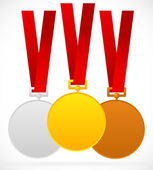 Gold, silver, bronze medals with red ribbon — Stock Vector