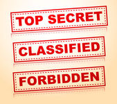 Top secret, classified, forbidden rubberstamps without grunge — Stock Vector