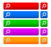 Vyhledávací lišty a tlačítka s lupou pro web design — Stock vektor