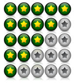 Star rating in dark green — Stock Vector