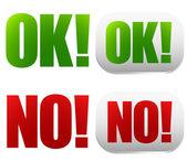 Stylish Ok, no button set — Stock Vector