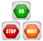 Go, Stop, Wait signs, Traffic, control signs. — Stock Vector