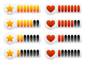 Heart and star rating set — Stock Vector