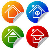 House Icons on colorful sticker. Home, summer house on peeling s — Stock Vector