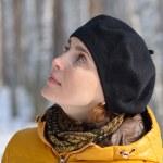 Woman in black beret — Stock Photo