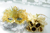 Carnival mask and golden bells — Stock Photo