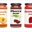 Stock Vector: Set of jars with berry jam isolated on white background