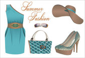Collection of summer clothes — Stock Vector