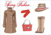 Vector collection of fashionable clothes seasons spring — Stock Vector