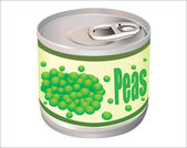 Metallic tin can with green peas isolated on white background — Stock Vector