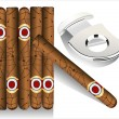 Cigar and guillotine. Vector illustration on white background. — Stock Vector