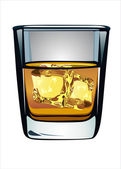 Glass of whiskey and ice isolated on white background — Stock Vector