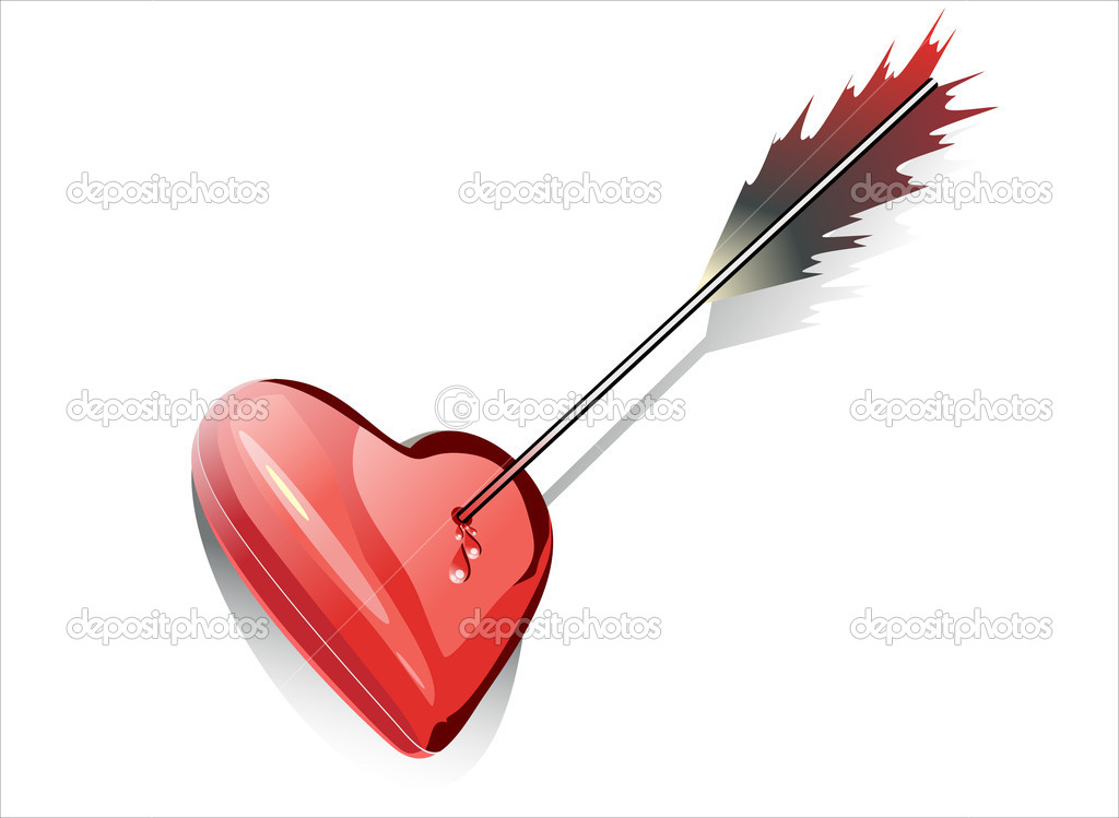 Heart impaled by arrow — Stock Vector #14469187